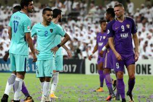 Al-Ain's forward Marcus Berg (R) looks on during their AFC Asian Champions League Group C football match against Al-Hilal at the Hazza Bin Zayed Stadium in Al-Ain on August 21, 2017. / AFP PHOTO / KARIM SAHIB        (Photo credit should read KARIM SAHIB/AFP/Getty Images)